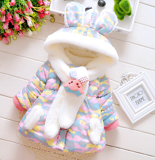 Wholesale New 2015 Baby Girls Camouflage super cute scarf thickening of rabbit ear child cotton-padded clothes Baby Girls ParkasОдежда и ак�е��уары<br><br><br>Aliexpress