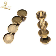20pcs fit 12mm cabochon base trays antique bronze hair clips blank settings