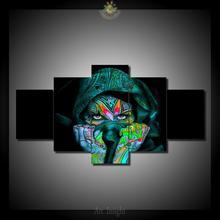 HD Отпечатано 5 Шт./компл. Зеленый симпатичный череп девушка Стены Искусства Картины Печать на Холсте для Украшения Дома Wall Art изображение(China)