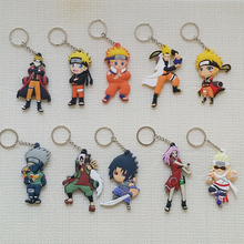 Cartoon Naruto Uzumaki Naruto PVC Keychain double PVC Chaveiro Uchiha Sasuke Haruno Sakura Gai Writing the wheel eye Pendant(China)