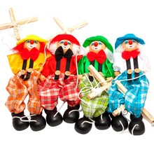2016 New Funny Toy Pull String Puppet Clown Wooden Marionette Toy Joint Activity Doll Vintage free shipping