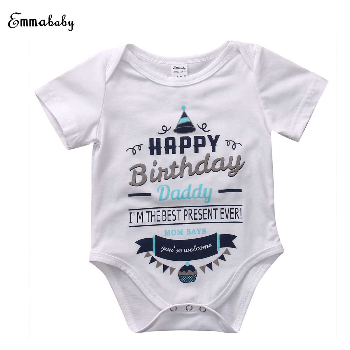 Newborn Infant Baby Boy Girl Rompers Short Sleeve Jumpsuit Happy Birthday Party Clothes Kids Boys Girls