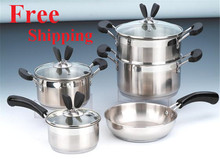 German Technic Cooking Tools 8pc Of Stainless Steel Cookware Set Pots Set Pots and Pans Cooking Pots Glass Cover Induction Base