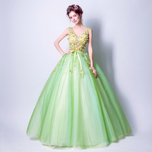 Angel Wedding Dress Marriage Bride Bridal Gown Vestido De Noiva 2017Soft powder, Qingjian Lvxian beauty, petals, green 9718(China)