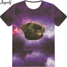 Joyonly Lovely Pugs T-Shirt Hip Hop Black Pug head Floating Space Galaxy T shirt Men's Tops 3d tshirt 2018 Summer Man Cool Tees(China)