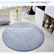 Micozy Round Floor Mat Coral Fleece Anti-skid Living Room Bedroom Rug Home Decrotaion Carpet  In Multi Colors