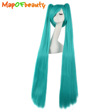 "MapofBeauty 47""120cm Long straight Synthetic hair Blue Color 2 Clip On Ponytail Heat Resistent Cosplay Wigs play role costume(China)"