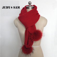 Apparel Accessories Unique New Raccoon Fur Scarf Women Wool Knitted White Black Long Winter Scarves With Two Piecs Fur Pom Poms