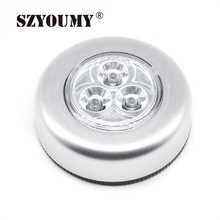 SZYOUMY 200pcs Small LED Night Light Wall Light Kitchen Cabinet Closet Lighting 3 LED Batteries Powered Sticker Tap Touch
