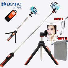 BENRO Handheld mini Tripod for Phone 3 in 1 Self-portrait Monopod  Selfie Stick with Bluetooth Remote Shutter for smartphone