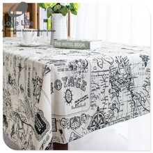 Cotton Linen Tablecloth Dining Table cloth Cover Desk Towels High Quality world map print table cloths 7sizes Free Shipping