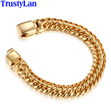 TrustyLan Chain Link Men Bracelet 12MM Wide Rose Gold Color Stainless Steel Mens Bracelets With Magnet Clasp Armband Jewelry(China)