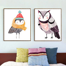 no frame cartoon cute owl scenery canvas printings oil painting printed on canvas home Kid room wall art decoration picture