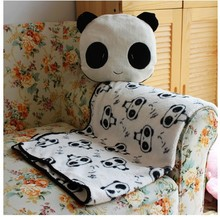 Super cute soft plush cartoon animal panda pillow with a warm blanket inside, creative Christmas and Valentine gift for girls