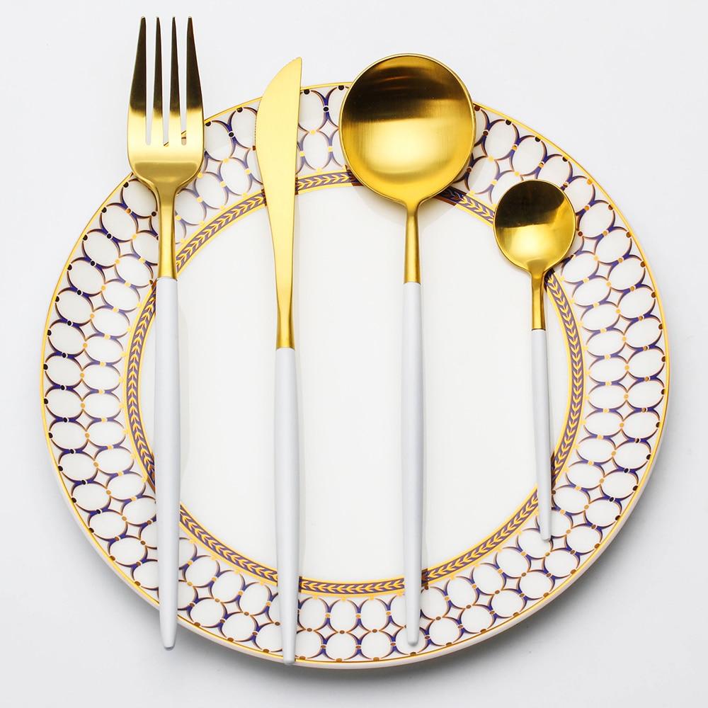 Lekoch-4PCS-Set-Tableware-Stainless-Steel-Spoons-Forks-Knives-Kit-White-Gold-Flatware-Sets-Food-Grade