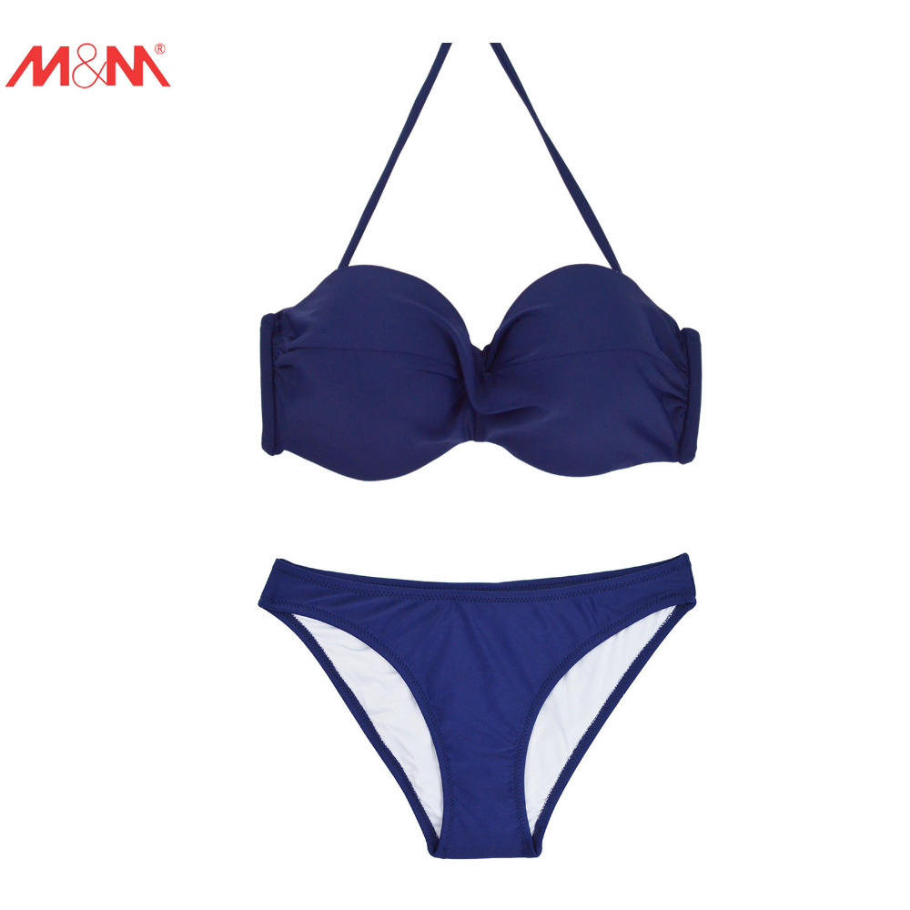 M&amp;M Solid Bikini Set Brazlian Low Waist Bottom Push Up Swimsuit Female Bathing Suit Halter Swimwear Beach Wear Strappy Biquinis<br><br>Aliexpress