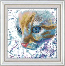 Watercolor cat cross stitch kit cartoon animal cat pattern printed cloth DIY hand embroidery set craft handmade needlework