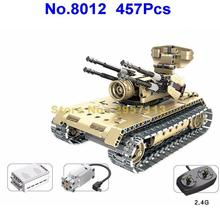 8012 457pcs Technic Military Remote Control RC Self-propelled Anti-aircraft Gun Tank 360 Rotate USB Building Block Brick Toy(China)