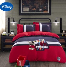 Mickey Mouse Comforters Bedding Set Boys Bedclothes Disney Cartoon Applique Embroidery Cotton Fabric Single Twin Queen Red Color