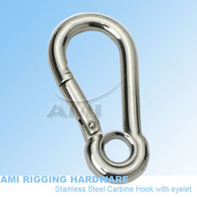 9mm*90mm, spring clip with eye stainless steel 316 wholesale spring hook,carbinehook, carabiner,snap hook boat rigging hardware(China)
