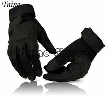 Tnine Best price Men's Army Gloves Man Full finger gloves Military police Safety Gloves Anti-Slippery Leather Tactical Gloves(China)