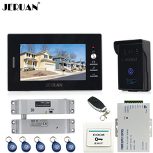 JERUAN luxury 7`` Video Intercom Entry Door Phone System+700TVL Touch Key Waterproof RFID Access Camera+Electric Bolt lock
