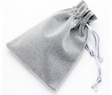 High Quality 9x12cm Two Lines Silver Grey Soft Thicken Drawstring Velvet Bags Pouches For Christmas Packaging Gift Bag 10pcs/lot(China)