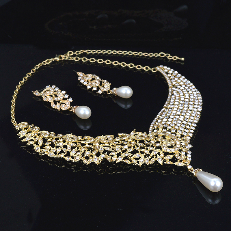 Gold Metal Plated necklace earrings Bridal Wedding jewelry sets Women Party crystal pearl fashion dress earrings set accessories 15