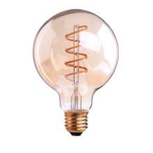 Spiral Filament LED,Edison G95 Globe Bulb,3W,Amber Glass,Super warm 2200K,E26 E27 Base,Decorative Lights,Dimmable