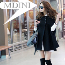 2016 Autumn & Winter New Design Cloak High Quality Fashion Coat Black Slim Casual Jacket Bat Sleeved Cloaks For Women Mantle