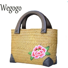 Wegogo Women Handbag New Thailand Straw Bag Ladies Travel Holiday Summer Beach Bohemian Boho Weaving Woven Straw Tote Bag