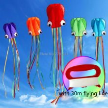 4m/13ft single Line Stunt colorful tail Octopus POWER Sport Kite for Kids with flying line 5 colors(China)