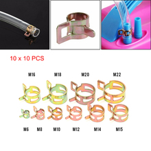 Hot sale 100Pcs/Set 6-22mm Spring Clip Fuel Line Hose Water Pipe Air Tube Clamps Fastener(China)