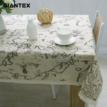 GIANTEX European Map Print Decorative Table Cloth Cotton Linen Lace Tablecloth Dining Table Cover For Kitchen Home Decor U0995