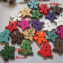 Christmas series 100pcs 18mm 1 / mixed star snowflower tree wood button new year decorative accessories scrapbooking material