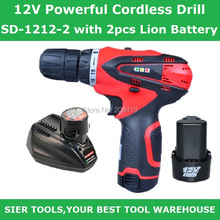 Cordless Drill!/12V Powerful Cordless Drill/SD-1212-2 with 2pcs Lion Battery/Sier Rechargeable Screwdriver/1800MAH DIY drill