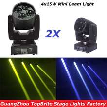 2Pcs/Lot CREE 60W Led Moving Head Spot Effect Light 4x15W Super Beam Wash Mini Lighting For Stage DJ Disco Laser Light Projector(China)
