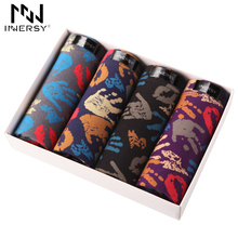 Innersy 2017 Brand 4Pcs\lot Mens Underwear Colorful Boxers Cotton Boxer Men Printed Boxer Shorts Boxers Mens Underwear Plus Size(China)