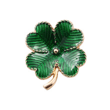 New Green Enamel Lucky Clover Brooch Flower Wedding Bridal Brooches For Women