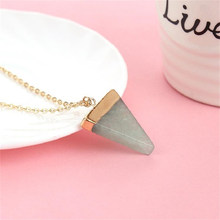 Buy LNRRABC Fashion 1Pc Unsex Charm Natural Stone Triangle Crystal Pendant Necklace jewelry Chain Jewelry Gift 4 Colors for $1.26 in AliExpress store