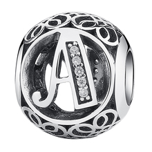 Classic 925 Sterling Silver Alphabet A Letter Bead Charms Fit Pandora  Beads Bracelets & Necklaces Women Jewelry EDC008-A