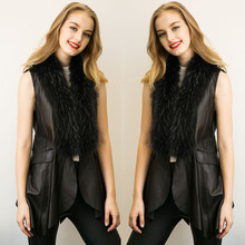 2017 Autumn winter Hot Sale New Fashion Design black Long haired collar Medium length Artificial fur Stitching vest S-XXXL