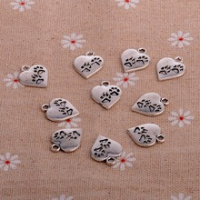 100PC/Lot Paws Dog Tag Heart Charms Silver Jewewlry Making Findings DIY Necklaces Bracelets Pendants Bangle