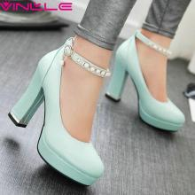 VINLLE 2017 Women Pumps Shoes Ankle Strap Wedding Large High Heel Platform Women Shoes Summer Round Toe Ladies Fashion Shoes