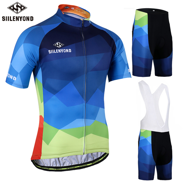 SIILENYOND Gareth 100% Polyester Summer Cycling Jersey Maillot Ropa Ciclismo Bicycle Sportswear Mans Mountain Bike Clothing Set<br>