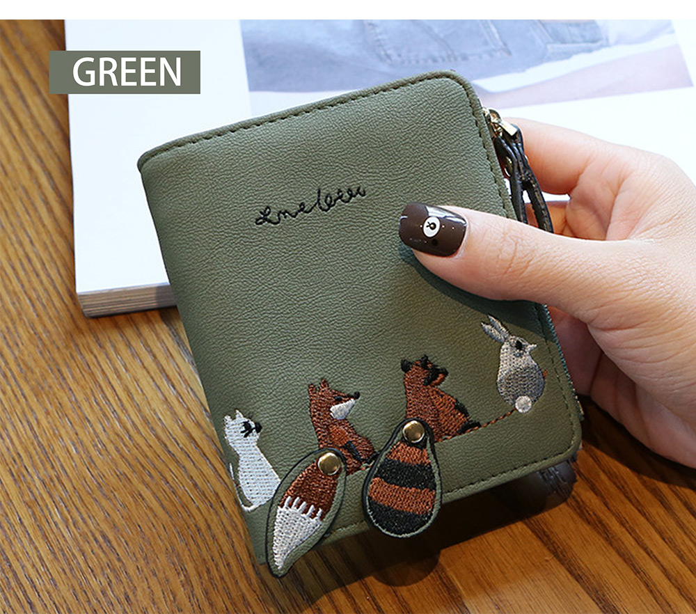 2018 Fashion Naivety Short Wallet Embroidery Fox Wallets Female PU Leather Hasp Coin Purse Zipper Clutch  drop shipping 52