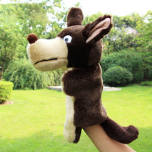 1 Pcs Finger Puppet Plush Toys Wolf hand Puppet parent tell story Children Learning Educational Animals fantoches Kids baby doll(China)