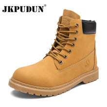 JKPUDUN Winter Ankle Boots Men Casual Shoes Lovers Lace-Up Autumn Leather Waterproof Work Tooling Mens Boots Military Army Botas(China)