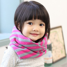 Warm New Winter Spring Autumn Children Collar With Stripe Scarf Cotton Shawl For Boys And Girls Ring Child Neck Scarves(China)