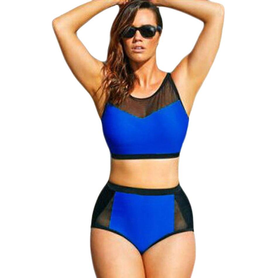 Color Block High Waist Swimsuit plus size swimwear women sexy bikini 2017 maillot de bain femme biquini monokini bathing suit<br><br>Aliexpress